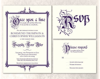 Printable Once Upon a Time Invitation Fairy Tale Wedding Party Flat Custom Color Happily Ever After