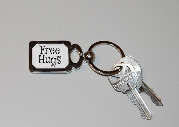 Free hugs keychain, I like hugs, peace, silly humor, hugs are good, funny keychain, novelty key ring, hug me, hugs for everyone, novelty