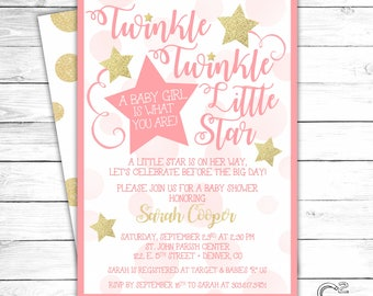 Pink & Gold Twinkle Twinkle Little Star Baby Shower Invitation