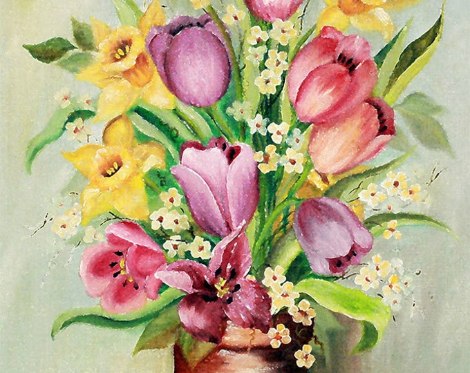 Daffodills & Tulips Giclee Print on Fine Art Paper or Canvas
