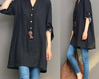 Black linen top linen tunic shirt asymmetrical caftan spring autumn top loose blouse maxi top plus size clothing handmade top custom
