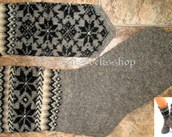 Gray Black White Hand Knit Mittens Natural Gray Wool Mittens Hand Knit Gray Black White Wool Gloves Winter Mittens Patterned Latvian Mittens