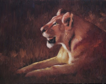 Africa Lion 11x17 print by artist RUSTY RUST / L-171-P