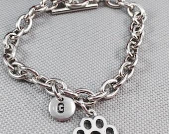 Paw print charm bracelet, paw bracelet, personalized bracelet, animal print bracelet, toggle bracelet, animal lover, initial bracelet
