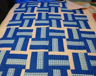 pink and blue rail fence baby quilt