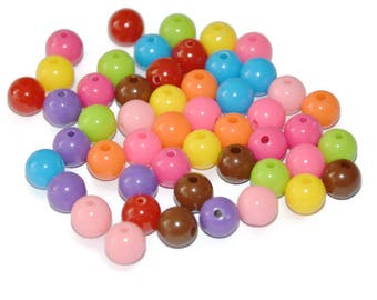 50 acrylic beads 8mm color mix