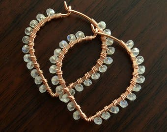 Rainbow Moonstone Hoop Earrings, Rose Gold Filled, Real Gemstones, Lotus Shape, Pink Gold, Wire Wrapped Jewelry, Free Shipping
