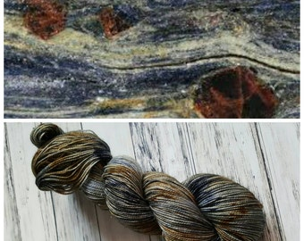 Hand Dyed Yarn, Merino, Nylon, Stellina, Sparkle, Perfect for Special Socks, Shawls and Lightweight Accessories - Variegated Glaucophane