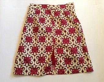 African Print short Skirt Cotton Waisted Front Opening with Lining