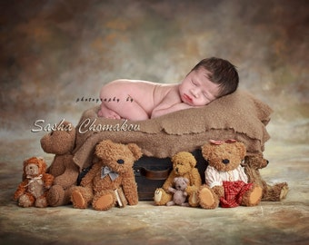 digital backdrop  background newborn baby boy or girl . Teddy bear