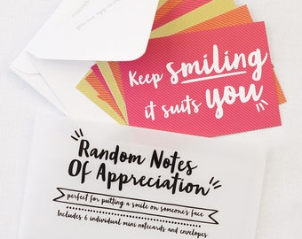Note card Gift - Random Notes of Appreciation - set of notecards - notelets with envelopes, gift for mum, colourful notecards, teacher gift