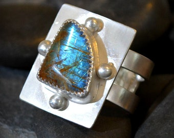 "rutilated quartz ring with opal effect.  size 7  ""intersection"""