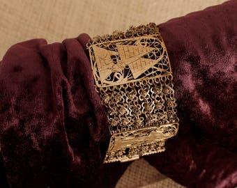 Egyptian Bracelet, Filigree Bracelet, Egyptian Jewelry,  Ethnic Jewelry, Wide Panel, Filigre Jewelry, Etnic Bracelet, Gypsy Jewelry, Vintage