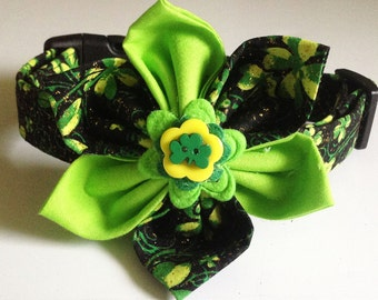 St. Patrick's Day Shamrock Flower Collar for Female  Dogs and Cats