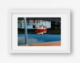 Large Photography Print - Boats in the Harbour - Fishing - Sailing - Nautical Fine Art - Red Boat -