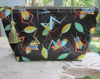 Zipper Pouch | Makeup Bag | Lined Bag | Cute Grasshopper Fabric | Grasshopper Fabric Makeup Bag | Small Gift Under 20 | Camera Accessory Bag