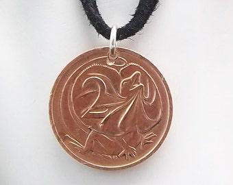 Lizard Coin Necklace, Australian 2 Cents, Coin Pendant, Leather Cord, Men's Necklace, Women's Necklace, 1976