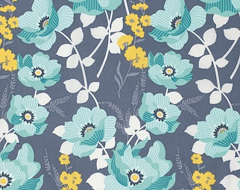 Atrium Fabric by Joel Dewberry Monarch Mint Blue Floral Flowers on Gray Grey