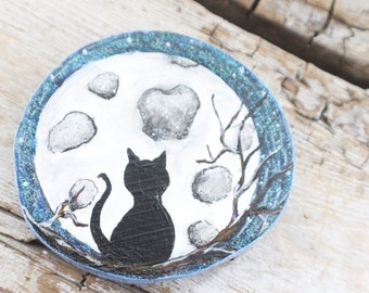 Moon Kitty Acrylic Painting on Timber Cut Wood, Magnet for Fridge, Black Cat