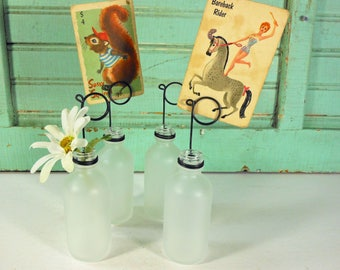 Four Labware Frosted Glass Bottle Bud Vases and Photo Holders