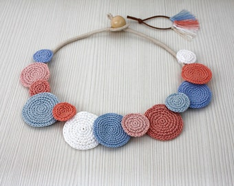 Necklace Circles, Crochet Necklace, Summer Fashion, Statement Necklace, Cotton Crochet Jewelry, Pink Blue Necklace, Necklace, Bib Necklace