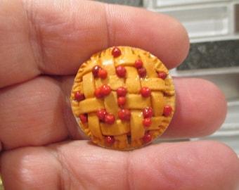 Dollhouse Miniatures - Large Full Sized Cherry Lattice Pie - Great for kitchen, table, fridge, bakery, diner, restaurant, etc.