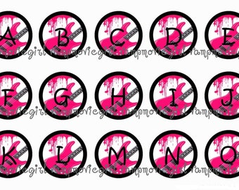 INSTANT DOWNLOAD...Hot Pink Guitar Alphabet 1 Inch Circle Image Collage for Bottle Caps...Buy 3 get 1