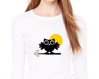 An Owl in the Moonlight T-shirt Women Long Sleeve