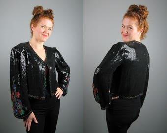 Vintage 1980s Sequin Jacket with 1920s Art Deco Styling 80s Heavily Beaded Avant Garde Jacket Size M/L