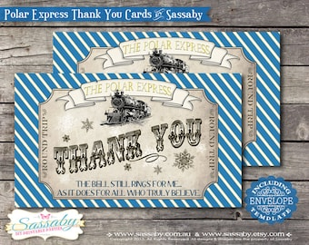 Polar Express Thank You Card Blue Birthday or Christmas Party -  INSTANT DOWNLOAD - Editable/Printable Decorations by Sassaby Parties