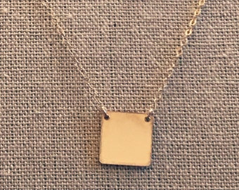 gold filled square necklace, square pendant necklace for her, everyday gold necklace, name necklace, personalized necklace