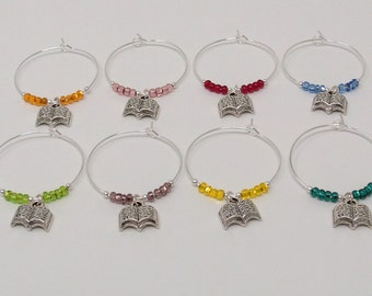 Book Club Wine Charms, Book Group Wine Glass Markers, Book Teacher Gift