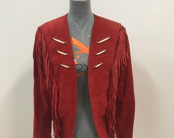 Lariat leather jacket fringe indian american 90's 80's vintage jacket red leather beaded festival jacket for her for him buffallo small s