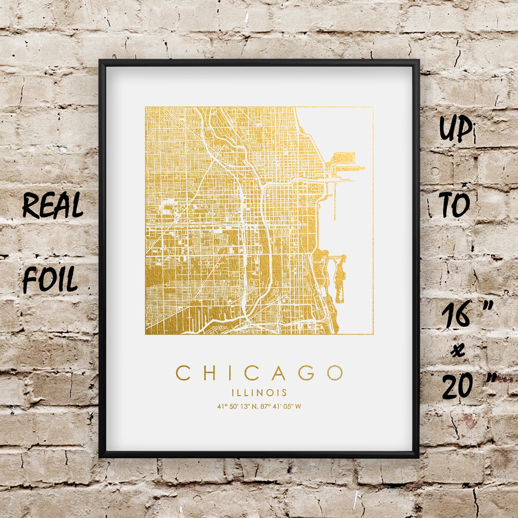 Chicago City Map Gold and Silver Foil Print up to