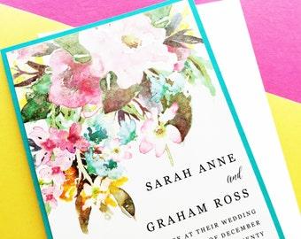 Watercolor Floral Wedding Invitation Suite Set, Watercolour Invitations, Wedding Invites, Spring Wedding, Outdoor Wedding, Rustic Wedding