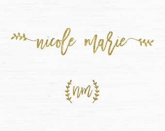 Mini Branding Package, Photography Logo and Watermark, Gold Foil Premade Marketing Kit, Branch Laurel logo design 2p07