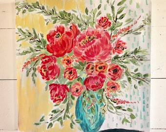 "Original still life acrylic painting ""My love for Peonies"" 20x20"