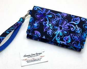 Women's Wallet with strap, cell phone accessory, blue purple black floral batik print wallet, small purse, women's gift, trifold wallet