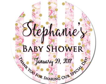 Custom Baby Girl Shower Labels Personalized Cherry Blossoms Flowers Round Glossy Designer Stickers