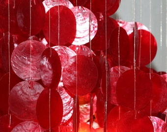 Vintage Red Capick Shell Chandelier light 1960's, 1970's never used
