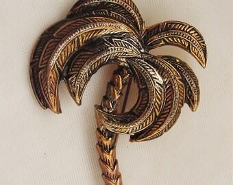 Damascene Palm Tree Pin Brooch Spain vintage