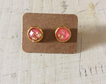 8mm Pink amd Gold Earring