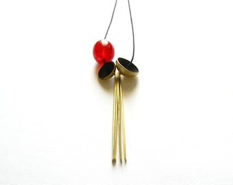 Resin Modern Necklace-Modern Gold Necklace-Red Resin Bead-Modern Pendant Necklace-Contemporary Necklace-Contemporary Jewellery