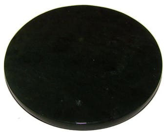 Dark green Nephrite Jade disk for healing or for home decor. 100% natural.Russia