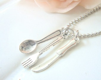 Little Fork, Spoon, Knife Charms Necklace