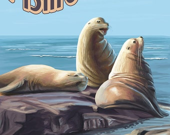 Pismo Beach, California - Sea Lions (Art Prints available in multiple sizes)