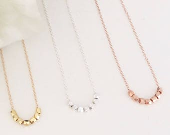 Beaded Necklace, Gold Necklace, Rose Gold Necklace, Dainty Gold Necklace, Bridesmaid Necklace, Delicate Necklace, Best Seller, Minimalist