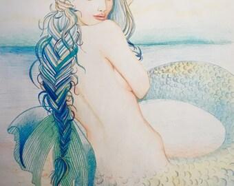 Fish Tail Mermaid Drawing Original Pencil Mermaid Art Print