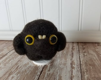 Adorable Needle Felted Wool Toothy Monster- Blown
