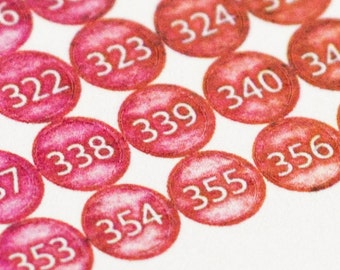 Planner Stickers ~ Small 365 Watercolor Dots in Volcano (Inkwell Press, Erin Condren, Plum Paper, Fliofax, Kikki K, Happy Planner)